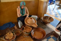 Gals making Argan Oil