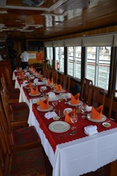 Lunch table for Halong Bay cruise